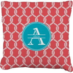"""Linked Rope Faux-Linen Throw Pillow 16"""" (Personalized)"""