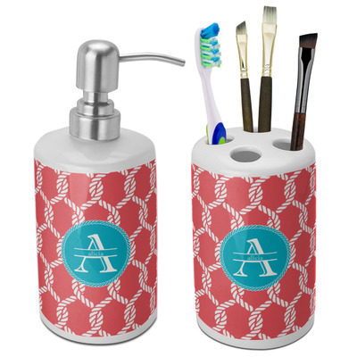 Linked Rope Ceramic Bathroom Accessories Set (Personalized)