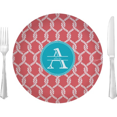 """Linked Rope 10"""" Glass Lunch / Dinner Plates - Single or Set (Personalized)"""