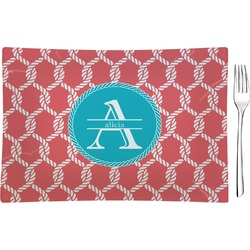 Linked Rope Rectangular Glass Appetizer / Dessert Plate - Single or Set (Personalized)