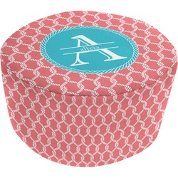 Linked Rope Round Pouf Ottoman (Personalized)