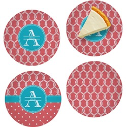 """Linked Rope Set of 4 Glass Appetizer / Dessert Plate 8"""" (Personalized)"""