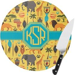 African Safari Round Glass Cutting Board - Small (Personalized)