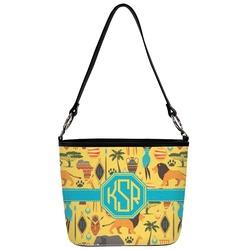 African Safari Bucket Bag w/ Genuine Leather Trim (Personalized)