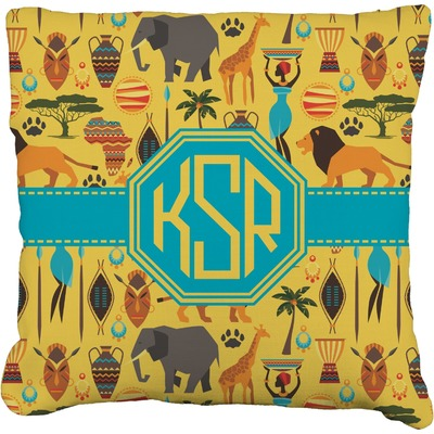 """African Safari Faux-Linen Throw Pillow 18"""" (Personalized)"""