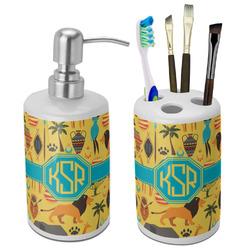 African Safari Bathroom Accessories Set (Ceramic) (Personalized)