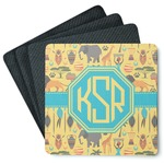 African Safari 4 Square Coasters - Rubber Backed (Personalized)
