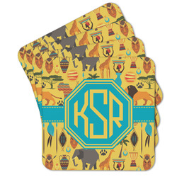 African Safari Cork Coaster - Set of 4 w/ Monogram