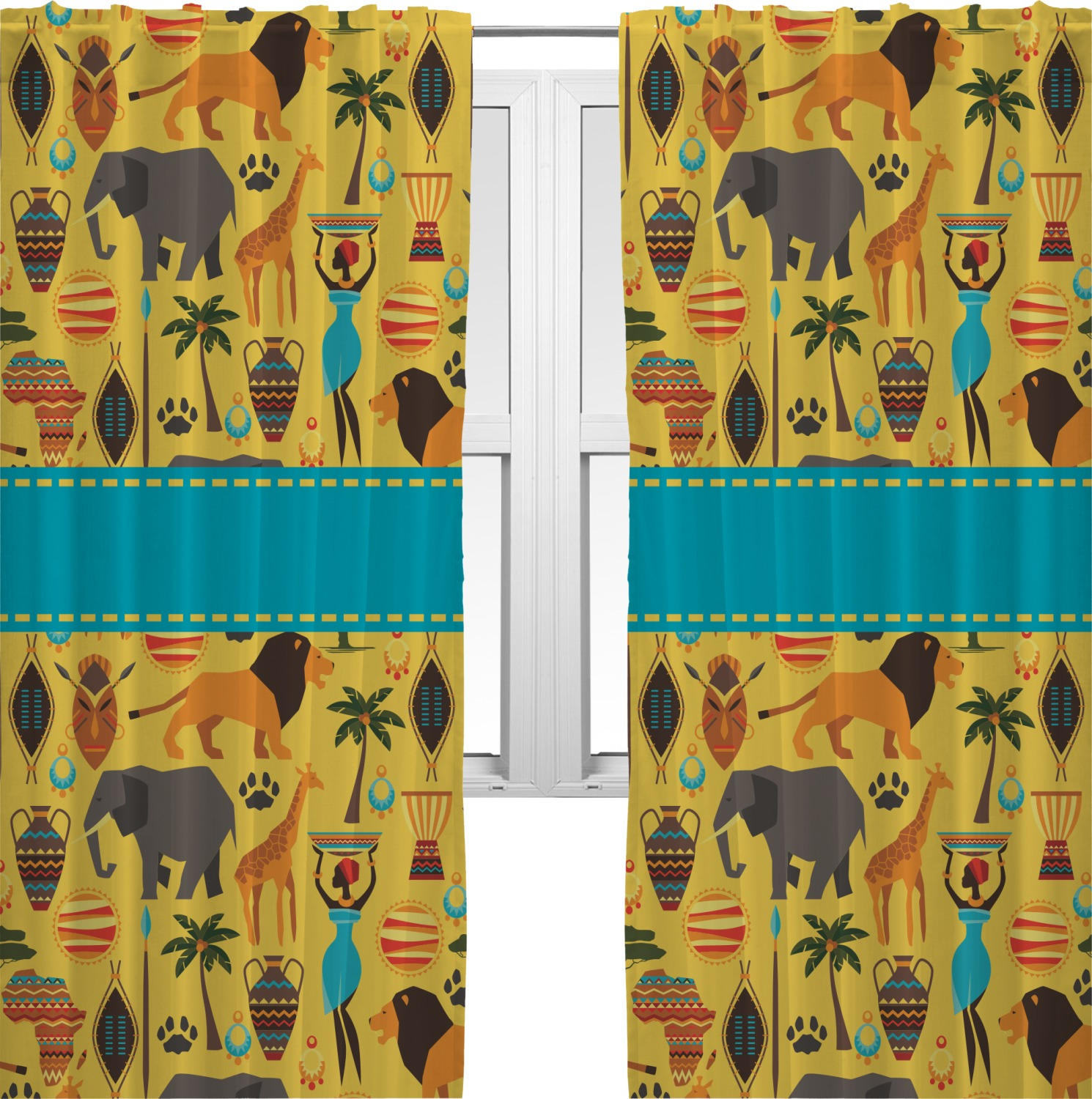 African Safari Curtains 20 Quot X54 Quot Panels Lined 2 Panels