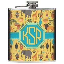 African Safari Genuine Leather Flask (Personalized)