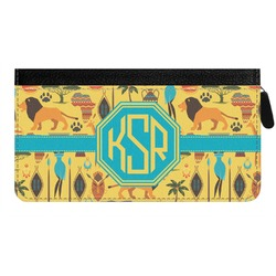 African Safari Genuine Leather Ladies Zippered Wallet (Personalized)