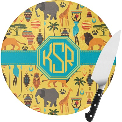 African Safari Round Glass Cutting Board (Personalized)