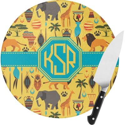 African Safari Round Glass Cutting Board (Personalized)