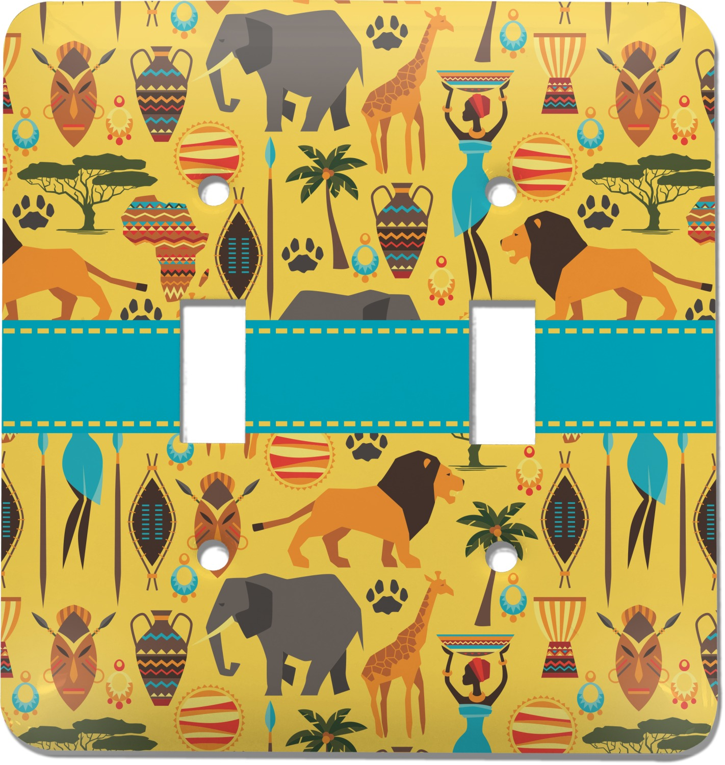 African Safari Light Switch Cover 2 Toggle Plate
