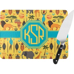 African Safari Rectangular Glass Cutting Board (Personalized)