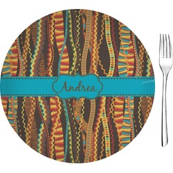"Tribal Ribbons 8"" Glass Appetizer / Dessert Plates - Single or Set (Personalized)"
