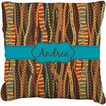 Tribal Ribbons Burlap Throw Pillow (Personalized)