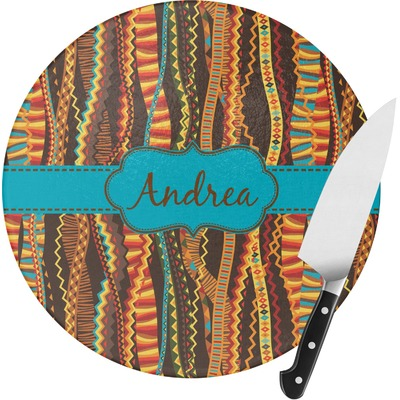 Tribal Ribbons Round Glass Cutting Board - Medium (Personalized)
