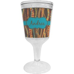 Tribal Ribbons Wine Tumbler - 11 oz Plastic (Personalized)