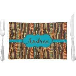 Tribal Ribbons Rectangular Glass Lunch / Dinner Plate - Single or Set (Personalized)
