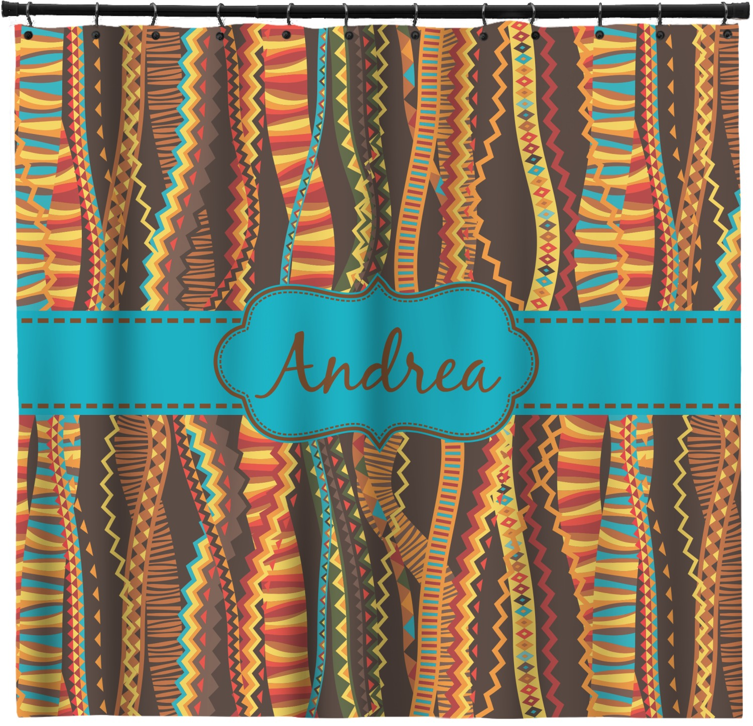 Tribal Ribbons Shower Curtain Personalized
