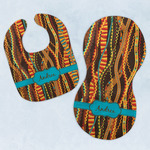 Tribal Ribbons Baby Bib & Burp Set w/ Name or Text