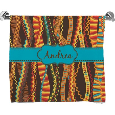 Tribal Ribbons Full Print Bath Towel (Personalized)