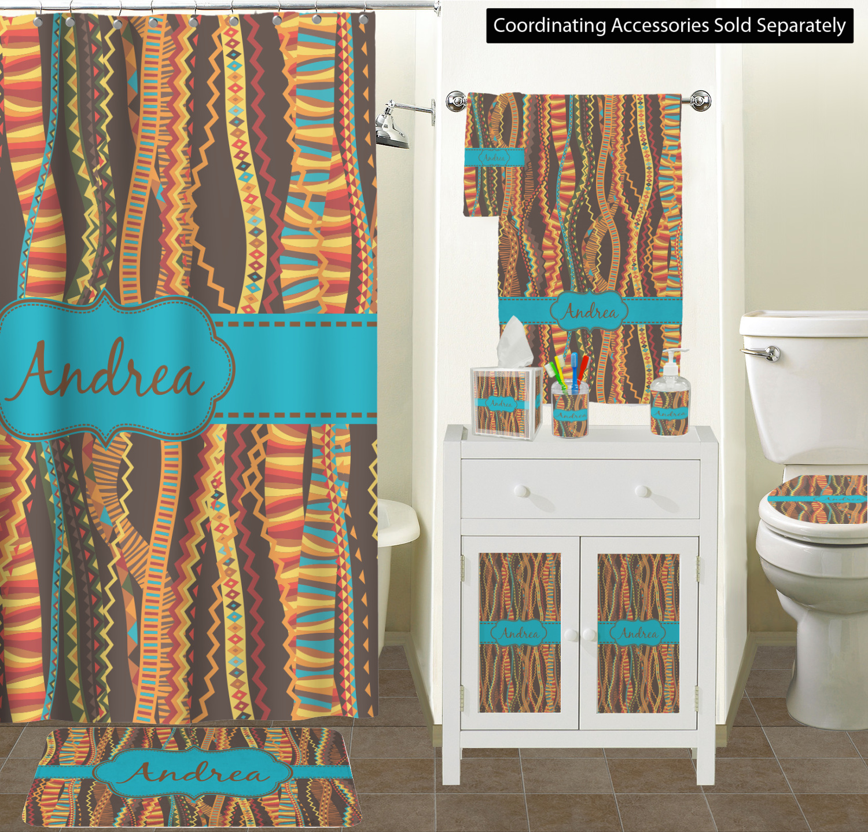 Curtain Sizes Tribal Ribbons Bathroom Scene