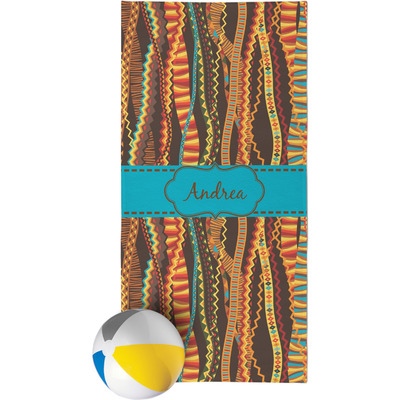 Tribal Ribbons Beach Towel (Personalized)