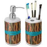 Tribal Ribbons Bathroom Accessories Set (Ceramic) (Personalized)