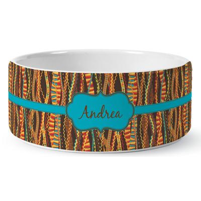 Tribal Ribbons Ceramic Dog Bowl (Personalized)