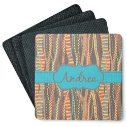 Tribal Ribbons 4 Square Coasters - Rubber Backed (Personalized)