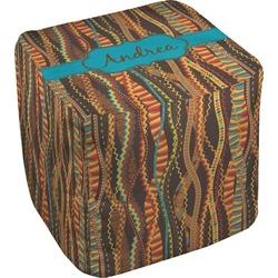 Tribal Ribbons Cube Pouf Ottoman (Personalized)
