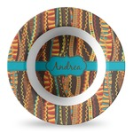 Tribal Ribbons Plastic Bowl - Microwave Safe - Composite Polymer (Personalized)