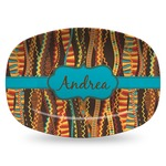 Tribal Ribbons Plastic Platter - Microwave & Oven Safe Composite Polymer (Personalized)