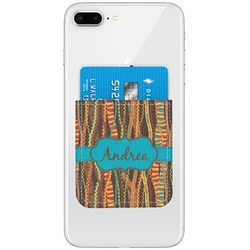 Tribal Ribbons Genuine Leather Adhesive Phone Wallet (Personalized)