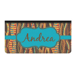 Tribal Ribbons Genuine Leather Checkbook Cover (Personalized)