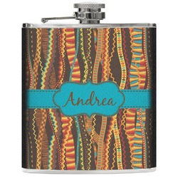 Tribal Ribbons Genuine Leather Flask (Personalized)