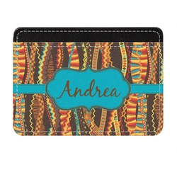 Tribal Ribbons Genuine Leather Front Pocket Wallet (Personalized)