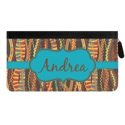 Tribal Ribbons Genuine Leather Ladies Zippered Wallet (Personalized)