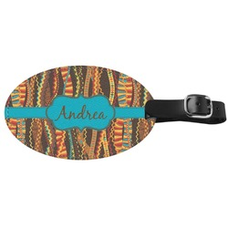 Tribal Ribbons Genuine Leather Oval Luggage Tag (Personalized)