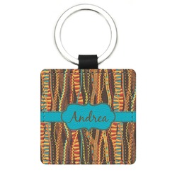 Tribal Ribbons Genuine Leather Rectangular Keychain (Personalized)