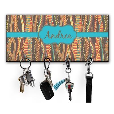 Tribal Ribbons Key Hanger w/ 4 Hooks w/ Name or Text