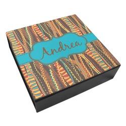 Tribal Ribbons Leatherette Keepsake Box - 3 Sizes (Personalized)