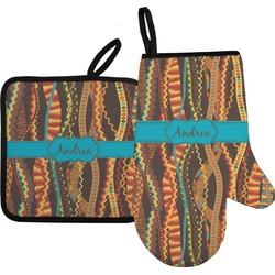 Tribal Ribbons Oven Mitt & Pot Holder (Personalized)