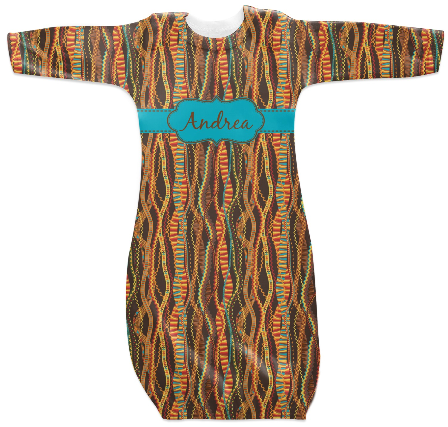 Tribal Ribbons Newborn Gown 0 3 Personalized