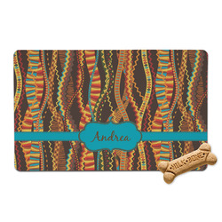 Tribal Ribbons Pet Bowl Mat (Personalized)