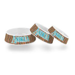 Tribal Ribbons Plastic Dog Bowl (Personalized)