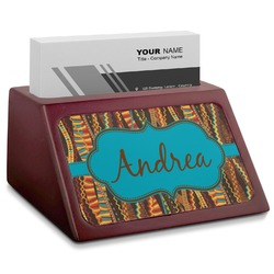 Tribal Ribbons Red Mahogany Business Card Holder (Personalized)