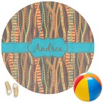 Tribal Ribbons Round Beach Towel (Personalized)